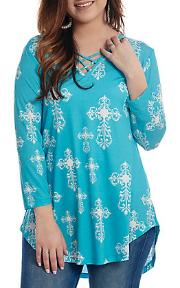 Cowgirl Hardware Women's Turquoise All Over White Cross 3/4 Sleeve Tunic