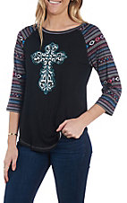 Cowgirl Hardware Women's Black Crystal Cross Raglan T-Shirt