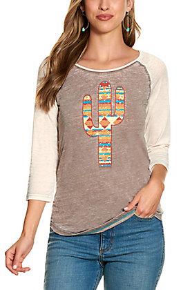 Cowgirl Hardware Women's Brown Aztec Print Cactus Long Sleeve T-Shirt