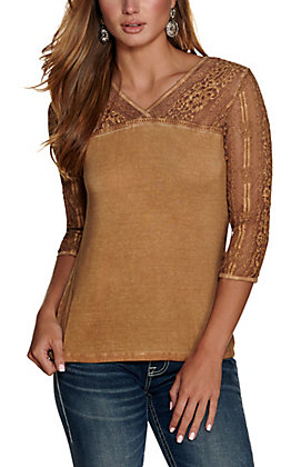 Cowgirl Hardware Women's Washed Brown with Lace 3/4 Sleeves Casual Top
