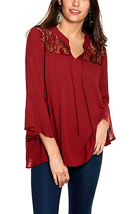 Cowgirl Hardware Women's Burgundy with Lace 3/4 Bell Sleeve Top