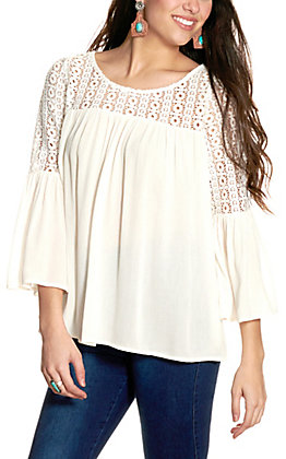 Cowgirl Hardware Women's White Crochet Bell Sleeve Top