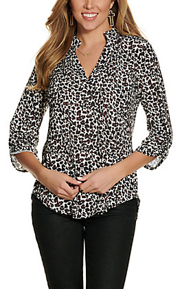 Cowgirl Hardware Women's Mini Leopard Print Hi-Lo 3/4 Sleeve Top