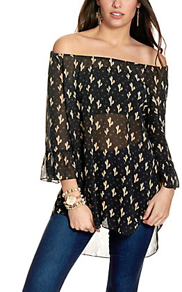 Cowgirl Hardware Women's Black with Brown and White Cactus Print Ruffle Sleeve Top
