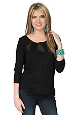 Anne French Women's Black with Illusion Neckline 3/4 Sleeve Top