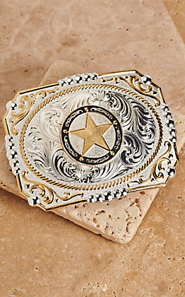 Montana Silversmiths Two Tone Cowboy Cameo Antiqued Star