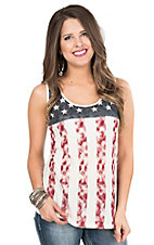 Anne French American Flag with Cream Lace Back Sleeveless Casual Knit