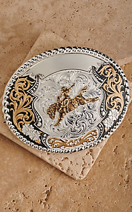 Montana Silversmiths Powell Gunmetal, Silver and Gold Bronc Rider Trophy Buckle