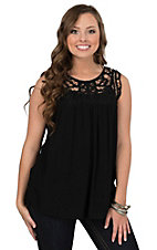 Anne French Women's Black Lace Yoke Tank