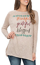 Southern Grace Women's Thankful, Grateful, Blessed L/S Casual Knit Shirt