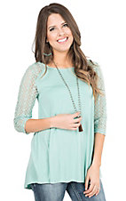 Anne French Blue Sage Hi-Lo with Lace 3/4 Length Sleeves Casual Knit Top