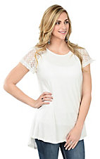 Anne French White with Lace Short Sleeve Casual Knit Top
