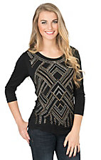 Anne French Women's Black Rhinestud Detail 3/4 Sleeve Knit Top