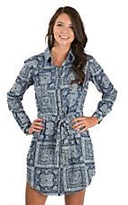 Panhandle Women's Chambray Bandana Print Western Shirt Dress