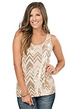 Anne French Champagne Chevron Sequin Tank Top