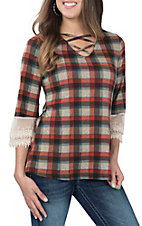 Grace & Emma Women's Orange Plaid Criss Cross and Lace Fashion Shirt
