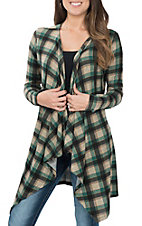 Grace & Emma Women's Green Plaid Cardigan