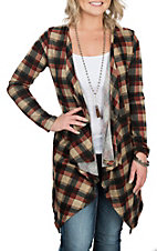 Grace & Emma Women's Maroon Plaid Cardigan