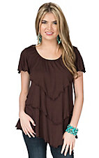 Anne French Women's Chocolate Triple Tier Short Sleeve Top