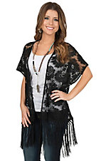 Anne French Black Lace with Fringe Short Sleeve Kimono