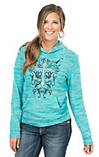 Cowgirl Hardware Women's Heather Turquoise with Filigree Cross Hooded Sweatshirt