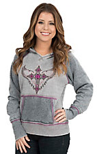 Cowgirl Hardware Women's Grey with Cross and Wings Embroidered Long Sleeve Pull Over Hoodie