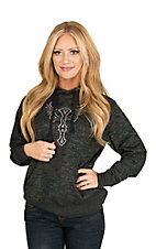 Cowgirl Hardware Women's Black with Studded Winged Cross on Front and Back Long Sleeve Hoodie
