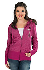 Ransom Ranch Women's Pink with Studded Cross Long Sleeve Zip Up Hoodie