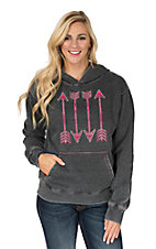 Cowgirl Hardware Women's Grey/Black with Pink Embroidered Arrows Hoodie