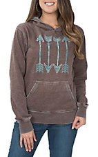 Cowgirl Hardware Women's Brown Four Arrow Hooded Pullover