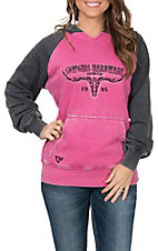 Cowgirl Hardware Women's Pink and Charcoal Vine Skull Logo Hoodie