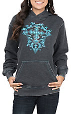 Cowgirl Hardware Women's Washed Black with Turquoise Cross and Rhinestones Hooded Pullover Jacket