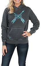 Cowgirl Hardware Women's Washed Black with Turquoise Arrows and Rhinestones Hooded Pullover Jacket