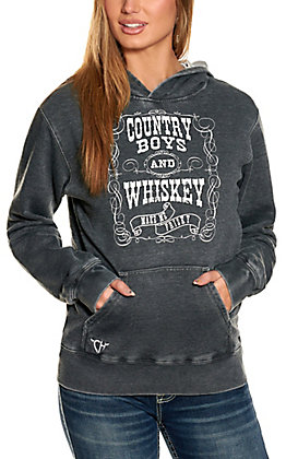 Cowgirl Hardware Women's Acid Washed Black Country Boys & Whiskey Hooded Sweatshirt