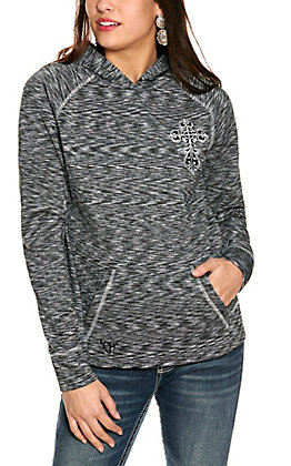 Cowgirl Hardware Women's Heather Black with White Cross Hooded Pullover Jacket