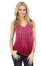 Anne French Fushia Ombre Dyed Fring Sleeveless Shirt
