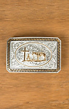 Montana Silversmiths Antiqued Braided Trim Portrait Buckle with Christian Cowboy