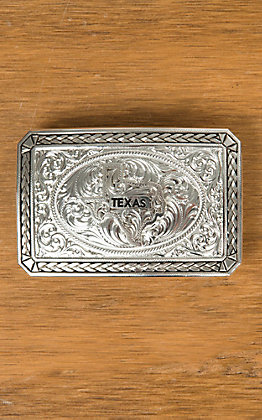 Montana Silversmiths Antiqued Wheat Trim Portrait Buckle with Texas