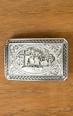 Montana Silversmiths Silver Antiqued Braided Trim Portrait Buckle with Christian Cowboy