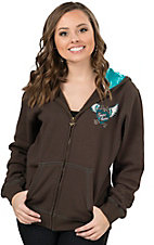 Cowgirl Hardware Women's Brown with Rhinestud Winged Heart & Pistols Long Sleeve Zip Hoodie