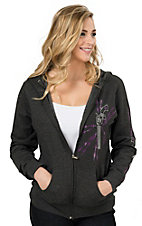 Cowgirl Hardware Women's Charcoal Grey with Studded Pistol Long Sleeve Full Zip Hoodie