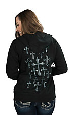 Cowgirl Hardware Women's Black with All-Over Studded Cross Design on Back Long Sleeve Zip-Up Hoodie
