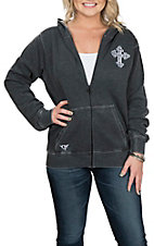 Cowgirl Hardware Women's Heather Black Sunset Cross Zip Up Jacket
