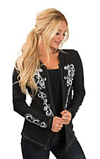 Cowgirl Hardware Women's Black Filigree Embroidered Casual Knit Hoodie