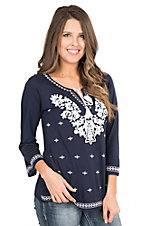 Anne French Navy with White Floral Embroidery 3/4 Length Sleeve Fashion Top