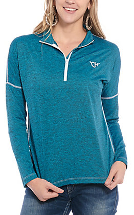 Cowgirl Hardware Women's Blue 1/4 Zip Pull Over