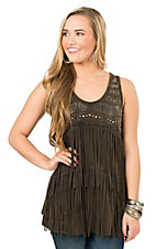 Anne French Brown Mineral Wash with Silver Embellishments and Fringe Sleeveless Top