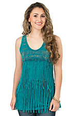 Anne French Turquoise Mineral Wash with Silver Embellishments and Fringe Sleeveless Top