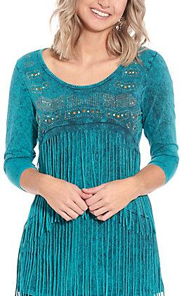 Rockin' C Women's Turquoise Fringe Fashion Top