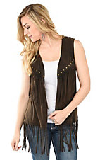 Anne French Brown with Brass Studs and Fringe Vest